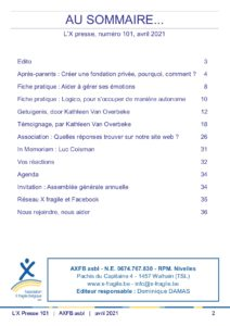 X Presse 101 - Sommaire