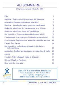 X Presse 102 - Sommaire