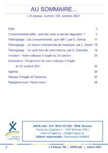 X Presse 103 - Sommaire