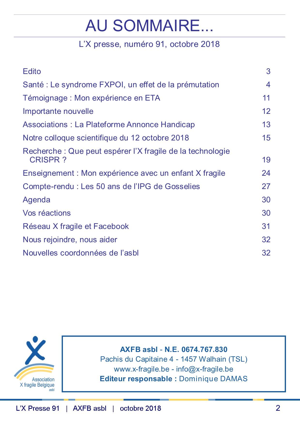 X Presse 91 - Sommaire